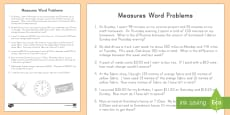 Math Word Problems Measures Activity Sheet
