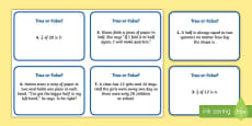 Year 1 Fractions True or False? Challenge Cards