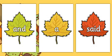 100 High Frequency Words on Autumn Leaves