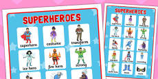 Superhero Vocabulary Mat
