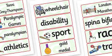 Tanni Grey Thompson Word Cards