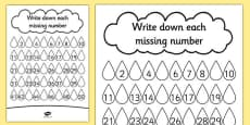 Raindrop Missing Number Activity Sheet
