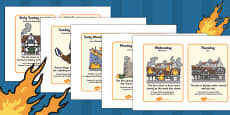 The Great Fire of London Events Timeline Cards Romanian Translation