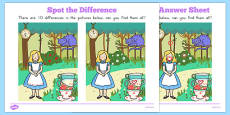 Alice in Wonderland Spot the Difference