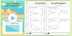 Area of Triangles and Parallelograms PowerPoint and Activity Sheets Pack