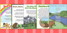 Bear Themed Rhymes and Poems EYFS Resource Pack to Support Teaching on Bear Hunt