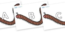 A-Z Alphabet on Millipedes
