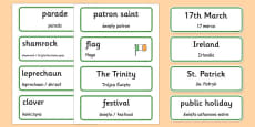 St. Patrick's Day Topic Word Cards Polish Translation