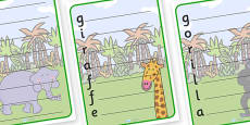 Jungle Themed Acrostic Poem Templates