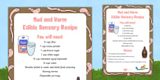 Mud and Worm Edible Sensory Recipe