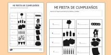Ficha Identifica las siluetas de los objetos de la fiesta de cumpleaños