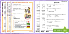 KS1 Mother's Day Differentiated Reading Comprehension Activity