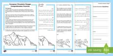 European Mountain Ranges Reading Comprehension Activity Arabic/English
