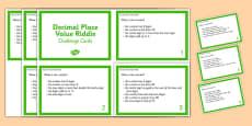 Decimal Place Value Riddle Challenge Cards