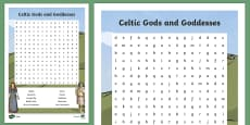 Irish Celtic Gods and Goddesses Word Search