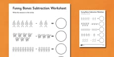 Subtraction Worksheet to Support Teaching on Funnybones