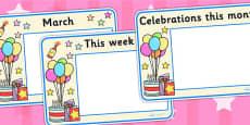 Celebrations and Festivals Calendar Posters