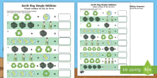 Earth Day Simple Addition Activity Sheet English/Portuguese