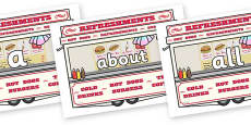 100 High Frequency Words on Fairground Food Vans