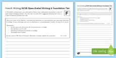 GCSE French Open Ended Writing 6 Foundation Tier Activity Sheet
