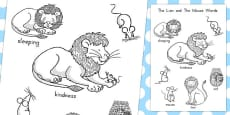 Australia - The Lion and the Mouse Words Colouring Sheet