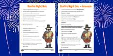 Bonfire Night Quiz Sheet