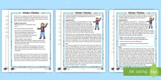 KS1 Winter Clothes Differentiated Reading Comprehension Activity