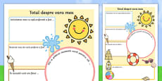 Summer Holiday Write Up Worksheet Romanian