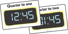Digital Clocks - Quarter To
