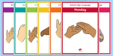 British Sign language Days of the Week Display Posters