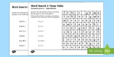Multiplication 4 Times Tables Word Search Activity Sheet English/Polish