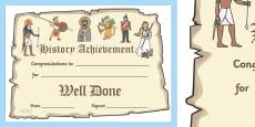 History Achievement Certificate