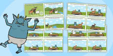 The Three Billy Goats Gruff Story Sequencing 4 Per A4 Polish Translation