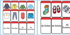 Clothing Matching Flashcards German