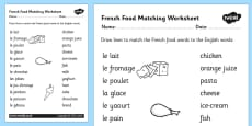 French Food Matching Words Activity Sheet