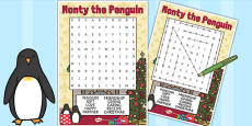 Monty the Penguin Wordsearch
