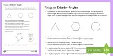 * NEW * Polygons: Exterior Angles Activity Sheet