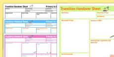 SEN Transition Handover Sheet Primary to Secondary