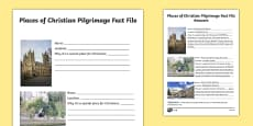 Places of Christian Pilgrimage Fact File Writing Frames Differentiated