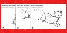 Christmas Cat Themed Pencil Control Worksheets