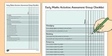 1999 Curriculum Junior Infants Early Maths Activities Assessment Group Checklist