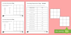 * NEW * Converting Units of Measurement Bingo