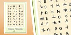 The Irish Language Decline and Revival Ogham Poster