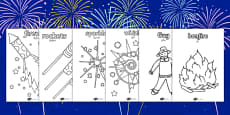 Bonfire Night Colouring Sheets Arabic Translation