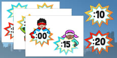 Superhero Themed Analogue to Digital Clock Labels