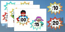 Superhero Themed Analogue to Digital Clock Labels