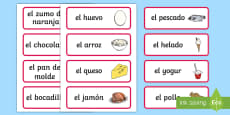 Spanish Food Vocabulary Cards