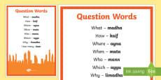 * NEW * Question Words English Arabic Phonetic A4 Display Poster