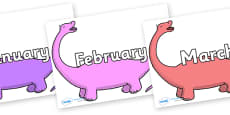 Months of the Year on Apatosaurus to Support Teaching on Harry and the Bucketful of Dinosaurs