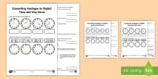 Converting Analogue to Digital Time and Vice Versa Activity Sheet